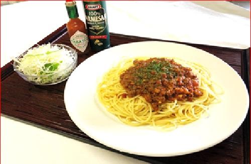 ミートスパゲッティ (サラダ付き)
